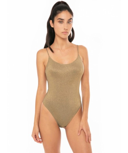 MC2 SAINT BARTH ONE PIECE SWIMSUIT WITH V-NECK GOLD CANDICE