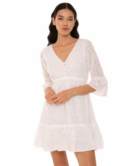 MC2 SAINT BARTH DRESS IN SANGALLO LACE COLOR WHITE HEMIL SNF01