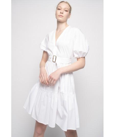 PINKO SHORT WHITE DRESS NUVOLOSO