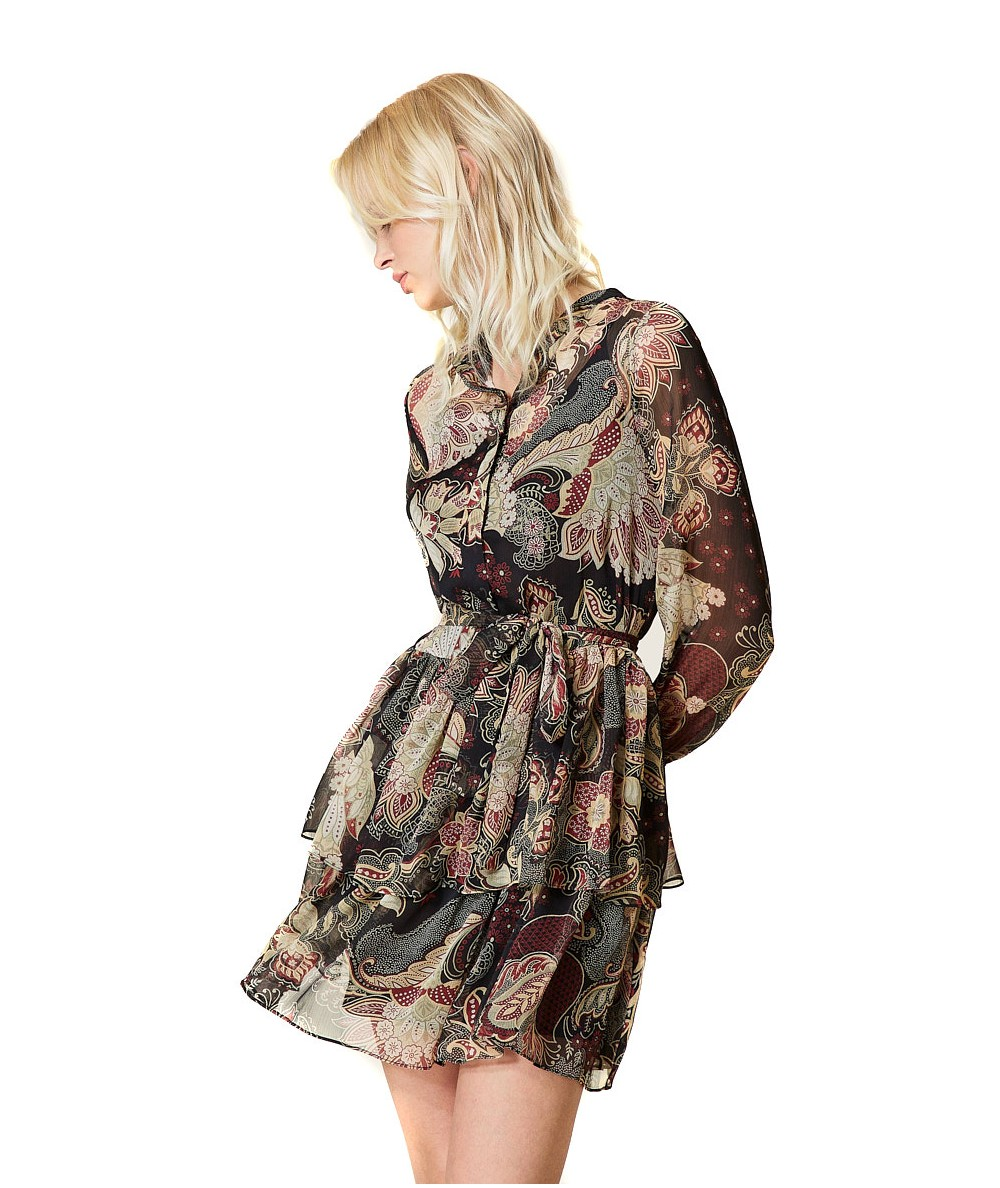 TWINSET SHORT CREPONNE DRESS WITH INDIAN FLOWER PATTERN 212TP2641 BLACK