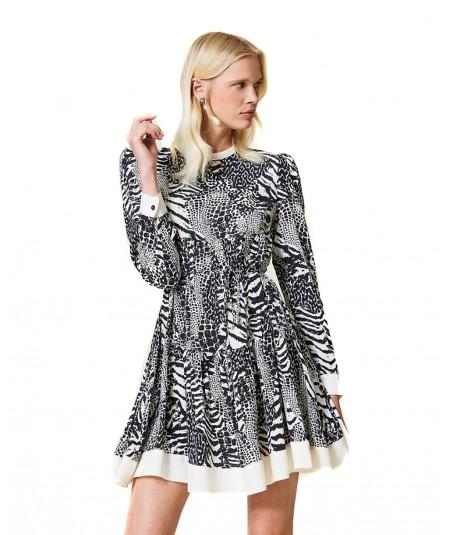 TWINSET SHORT ANIMAL PRINT CREPE DRESS 212TP2412 WHITE BLACK