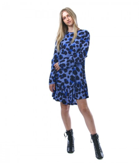 SEMICOUTURE SHORT DRESS WITH SPOTTED PRINT Y1WS51 LIGHT BLUE AND BLUE