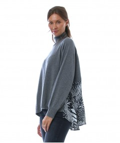 TWINSET JERSEY WITH ANIMAL PRINT INSERTS 212TP3492 GREY