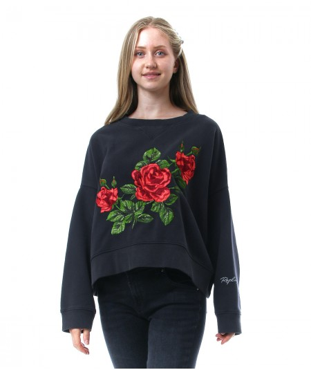 REPLAY SWEATSHIRT WITH EMBROIDERED ROSES W3992D 000 22890CS