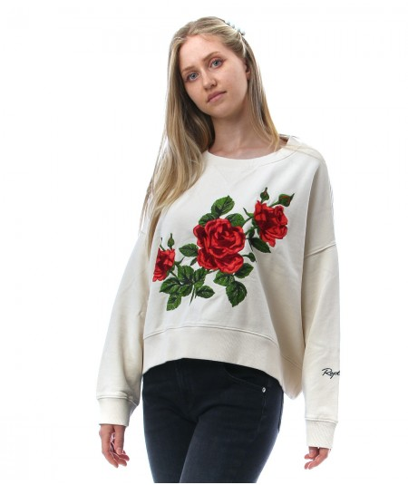 REPLAY SWEATSHIRT WITH EMBROIDERED ROSES W3992D 000 22890CS LIGHT BEIGE