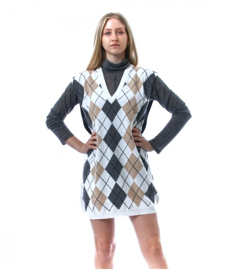 SEMICOUTURE CLARENCE LOZENGES GILET DRESS Y1WB21