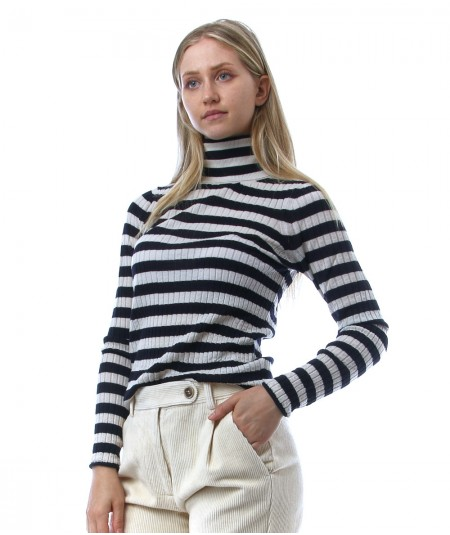 SEMICOUTURE RENEE TURTLENECK WITH STRIPED PATTERN Y1WC33 BLUE AND WHITE