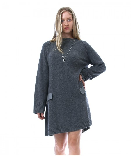 SEMICOUTURE GISELE WOOL BLEND MINI DRESS WITH DETAILS ON THE BACK Y1WA13
