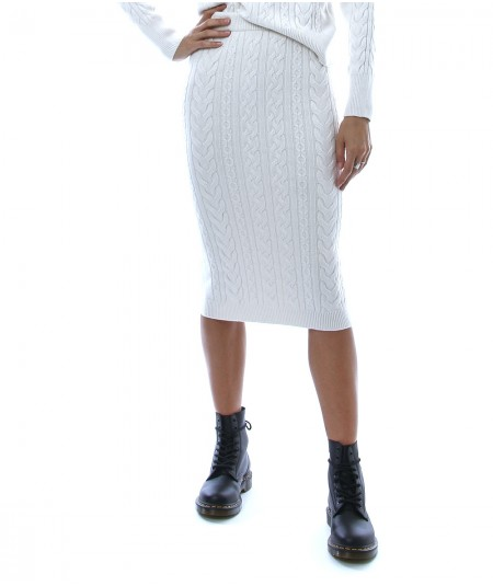 KAOS DAY BY DAY MIDI SKIRT WITH BRAIDED MOTIF NIBPT005 CREAM