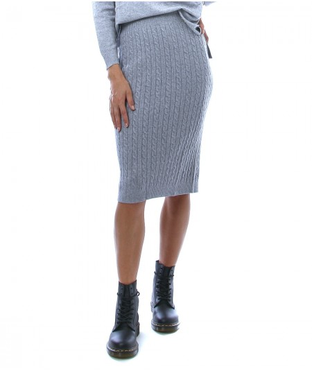 KAOS DAY BY DAY MIDI SKIRT WITH BRAIDED MOTIF NIBPT030
