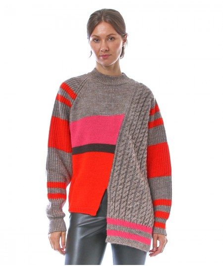 PHISIQUE DU ROLE SWEATER WITH BRAIDED MOTIF W218 BEIGE AND ORANGE