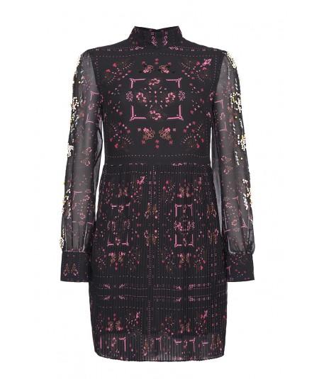 PINKO PLEATED MINI DRESS WITH BANDANA PRINT PARANA BLACK