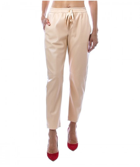 SEMICOUTURE LEATHER-EFFECT BUDDY TROUSERS WITH WAISTBAND Y1WT04 LIGHT CAMEL