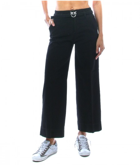 PINKO PALAZZO TROUSERS WITH BELT PEGGY 6 BLACK