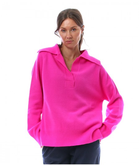 PHISIQUE DU ROLE KNIT POLO IN AIR CASHMERE W233 FUXIA