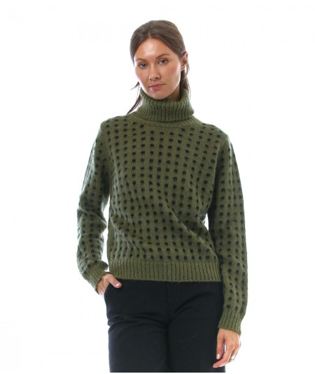ROY ROGER'S TURTLE NECK SWEATER PIXEL PATTERN A21RND558CA76XXXX GREEN