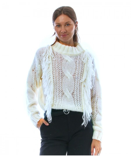 ROY ROGER'S HALF NECK SWEATER WITH FRINGES A21RND562CA80XXXX WHITE