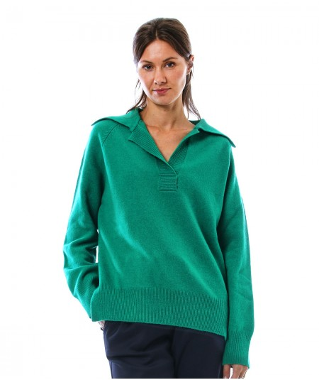 PHISIQUE DU ROLE KNIT POLO IN AIR CASHMERE W233 GREEN