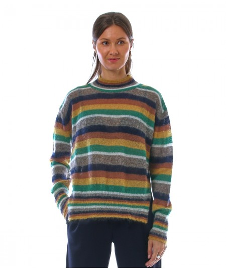 PHISIQUE DU ROLE KID MOHAIR STRIPED SWEATER W211 GREEN