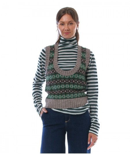 PHISIQUE DU ROLE SLEVELESS JACQUARD SWEATER W180 GREEN AND BROWN