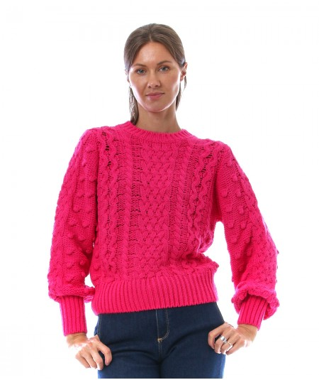 KAOS JEANS KNITTED SWEATER NIJLT022 FUXIA FLUO