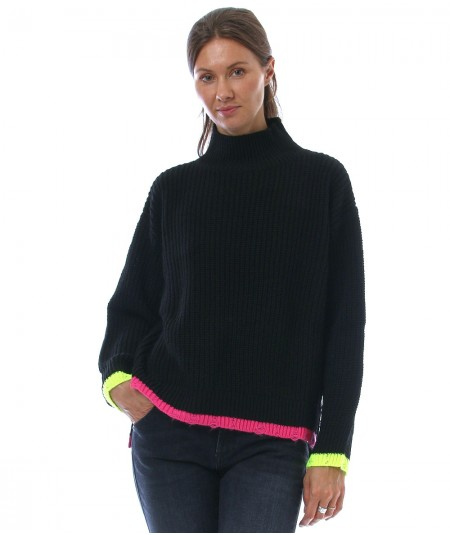 KAOS JEANS KNITTED SWEATER WITH FLUO PROFILES NIJFP069 BLACK