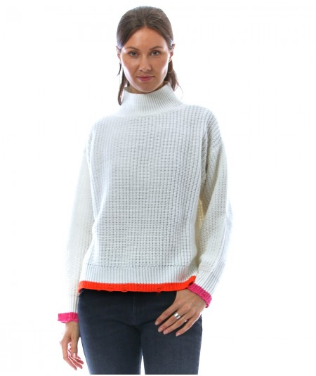 KAOS JEANS KNITTED SWEATER WITH FLUO PROFILES NIJFP069 WHITE