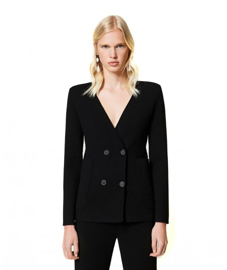 TWINSET KNITTED DOUBLE-BREASTED JACKET 212TP3240 BLACK