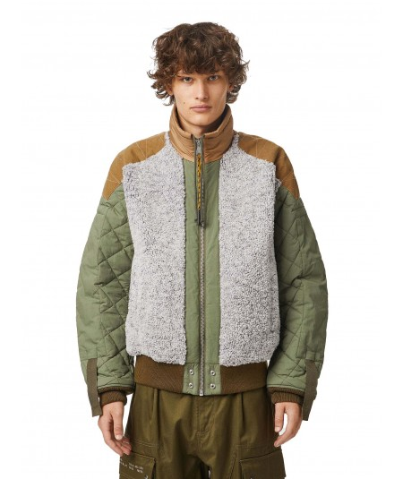 DIESEL JACKET WITH INSERTS W-POW-TEDDY MILITARY GREEN