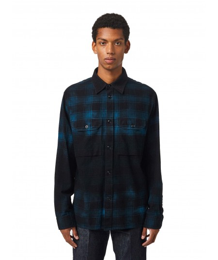 DIESEL CHECKED FLANNEL SHIRT WITH S-JESS-DIP TREATED EFFECT BLACK/BLUE