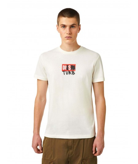 DIESEL T-SHIRT WITH DISTURB LOGO ON THE FRONT T-DIEGOS-B10 WHITE