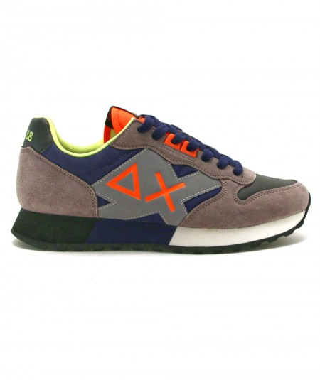 SUN68 SNEAKERS RUNNING JAKI FLUO Z41111 BLUE AND GREY