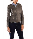 Nappa Bully Leather Jacket in Grey