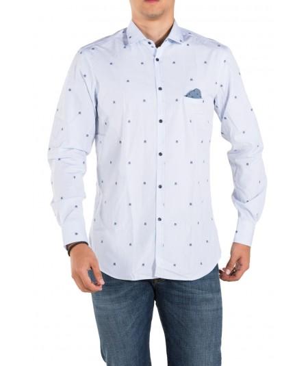 Aglini Blue Micro-Pattern Shirt