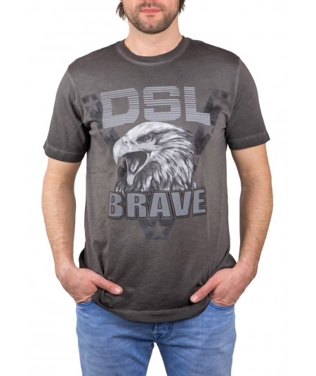 DIESEL T-shirt stampa Eagle Brave antracite