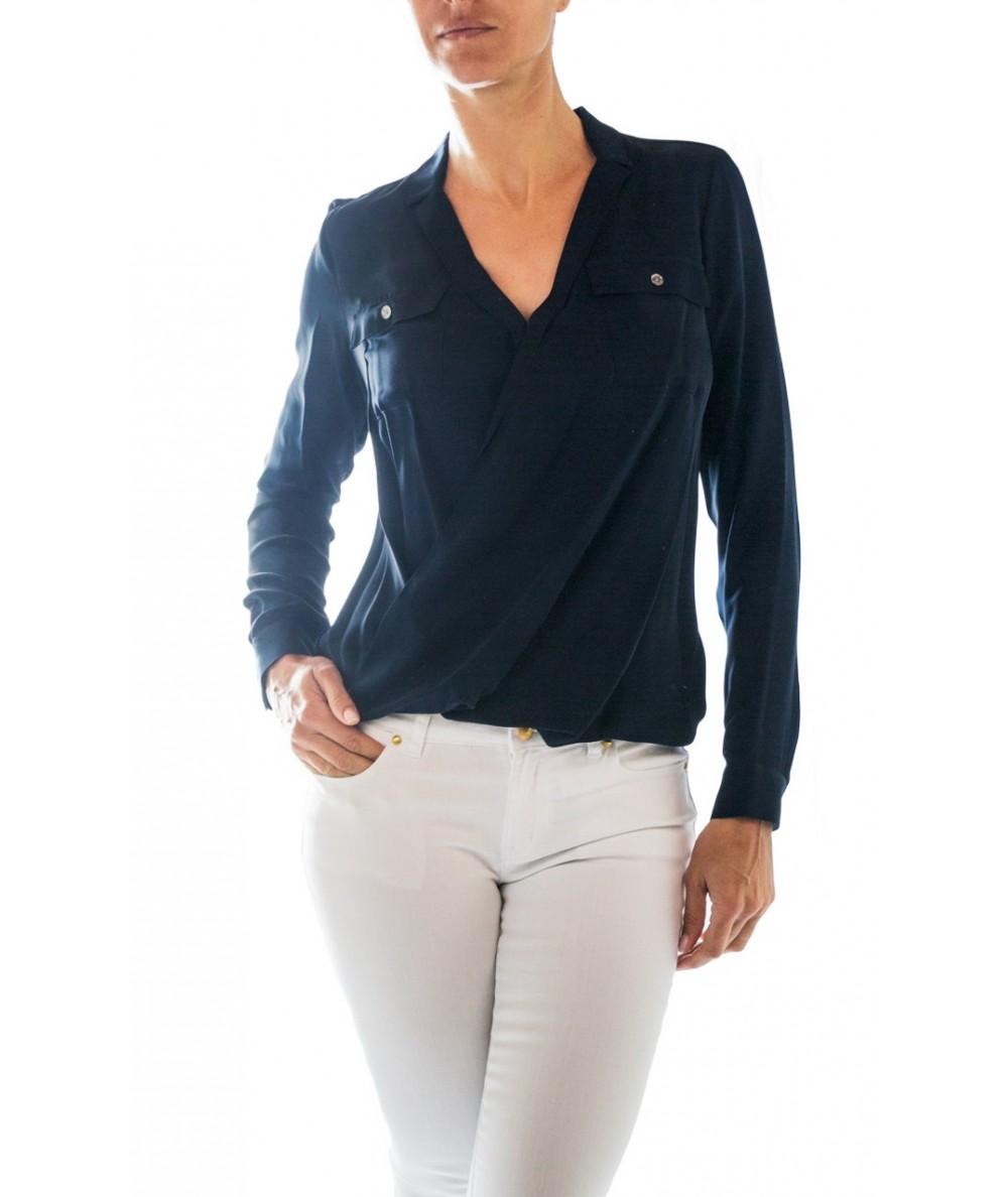 Michael Kors camicia in raso di seta blu