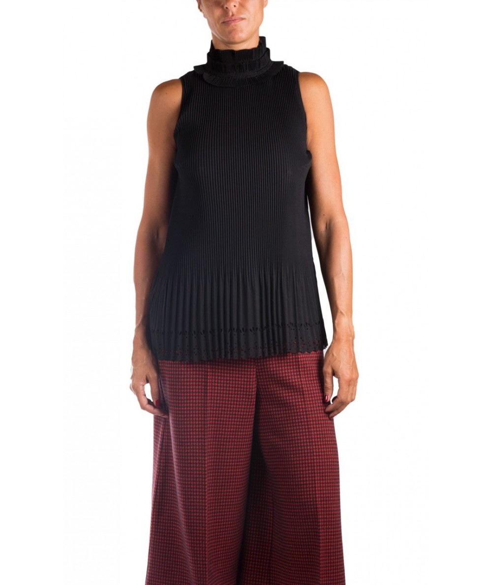 Pinko top in micopoly nero